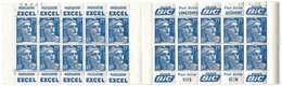 France Carnet Marianne De Gandon 15 Fr Bleu Serie 11 Pub Excel BIC Datés Et Avec Numéros 886-C10 - Usage Courant