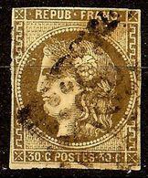 EXTRA BORDEAUX N°47d 30c Brun Foncé Oblit Losange GC Cote 350 Euro PETIT AMINCI - 1870 Emission De Bordeaux