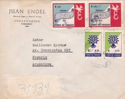 JUAN ENGEL. ENVELOPPE CIRCULEE 1961 PARAGUAY A ROSARIO STAMP A PAIR- BLEUP - Paraguay