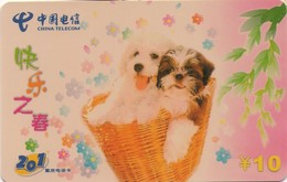 TARJETA TELEFONICA DE CHINA. PERROS - DOGS. 2 DOGS. CQ-201-30(2-2). (358). - Perros