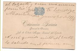 URUGUAY 1894 Gran Tarjeta Manuscrita 11,5 X 7,5 Del General CASIMIRO GARCIA Jefe Del Estado Mayor General Del Ejercito - Historical Documents