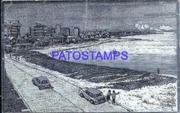 107712 URUGUAY ART METALIZED PUNTA DEL ESTE VISTA DE LA PLAYA BEACH & ROAD BREAK POSTAL POSTCARD - Uruguay