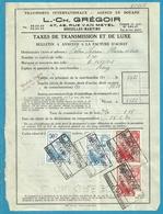 Fiscale Zegels 50 Fr + 8 Fr......TP Fiscaux / Op Dokument Douane En 1934 Taxe De Transmission Et De Luxe - Fiscaux
