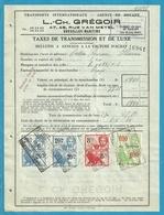 Fiscale Zegels 20 Fr + 8 Fr......TP Fiscaux / Op Dokument Douane En 1934 Taxe De Transmission Et De Luxe - Fiscaux