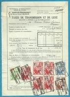 Fiscale Zegels 100 Fr + 10 Fr......TP Fiscaux / Op Dokument Douane En 1934 Taxe De Transmission Et De Luxe - Fiscaux