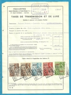 Fiscale Zegels 500 Fr + 400 Fr......TP Fiscaux / Op Dokument Douane En 1939 Taxe De Transmission Et De Luxe - Fiscaux