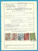 Fiscale Zegels 500 Fr + 100 Fr......TP Fiscaux / Op Dokument Douane En 1939 Taxe De Transmission Et De Luxe - Fiscaux