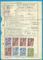 Fiscale Zegels 1000 Fr + 100 Fr.+60Fr.....TP Fiscaux / Op Dokument Douane En 1940 Taxe De Transmission Et De Luxe - Fiscaux