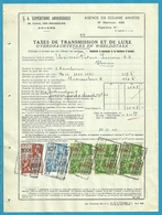 Fiscale Zegels 200 Fr + 10 Fr.+....TP Fiscaux / Op Dokument Douane En 1940 Taxe De Transmission Et De Luxe - Fiscaux