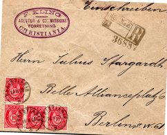 LETTRE RECOMMANDEE 1889 (?) - - Norvège