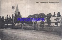 107732 URUGUAY COLONIA SUIZA CHURCH IGLESIA & MOLINO MILL CIRCULATED TO ARGENTINA POSTAL POSTCARD - Uruguay