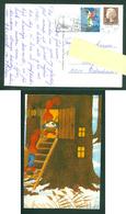 Denmark. Christmas Card 1979. Santa,Ladder,Rice Pudding. Artist: Karen K. Postal Used, With Christmas Seal. - Santa Claus
