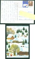 Denmark. Christmas Card 1976. Winter In Town. Deer, Children,Sled. Artist: Karen K. Postal Used, With Christmas Seal. - Santa Claus