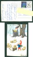 Denmark. Christmas Card 1984. Santa Splitting Firewood. Bird. Artist: Karen K. Postal Used, With Christmas Seal. - Santa Claus