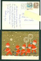 Denmark. Christmas Card 1960.Children,Sled,Light,Stars.  Artist: Karen K. Postal Used, With Christmas Seal. - Christmas