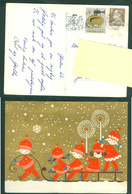 Denmark. Christmas Card 1962.Children,Sled,Light,Stars. Artist: Karen K. Postal Used, With Christmas Seal. - Christmas