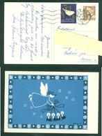 Denmark. Christmas Card 1955. Angel Stars,Light Decoration. Artist: Karen K. Postal Used,With Christmas Seal. - Christmas