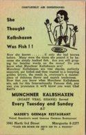 Wisconsin Milwaukee Mader's Famous German Restaurant Muenchner Kalbshaxen Every Tuesday And Sunday - Milwaukee