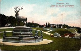 Wisconsin Milwaukee Juneau Park And Elk Monument - Milwaukee
