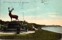Wisconsin Milwaukee Juneau Park Elk Fountain 1913 - Milwaukee