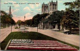 "Wisconsin Milwaukee Floral Flag ""Court Of Honor"" 1921 - Milwaukee"