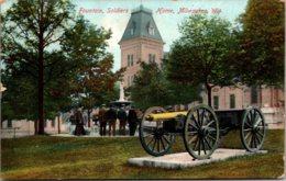 Wisconsin Milwaukee Soldiers Home Fountain & Cannon 1910 - Milwaukee