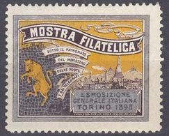 """ITALIA - 1898 - Erinnofilo Nuovo MH """"Mostra Filatelica Di Torino"""". - Italie"""
