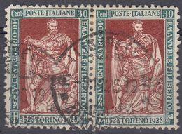 ITALIA - 1928 - Coppia Di Yvert 215 Usati Uniti Fra Loro. - 1900-44 Victor Emmanuel III
