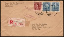 CHI SC#321 + 2 X (#386 Or #396) 1940 Dr. Sun Yat-sen Pair On Registered Mail + Backside Label - 1912-1949 Republic