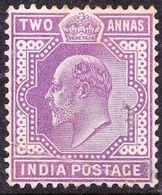 INDIA 1902 KEDVII 2 Anna's Mauve SG125 MH - India (...-1947)