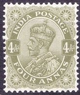INDIA 1911 KGV 4 Anna Olive-Green SG175 MH - 1911-35 King George V