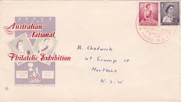 Australia 1959 Queen Elizabeth II,1d Purple + 4d Red,Royal FDC,ANPEX - FDC
