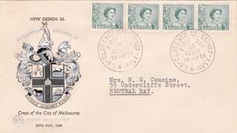 Australia 1959 Queen Elizabeth II,3d Green WCS FDC, Strip 4 - FDC