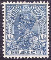 INDIA 1932 KGV 3 Anna 6 Pie Ultramarine SG238 MH - India (...-1947)