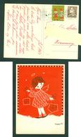 Denmark. Christmas Card 1963. Girl With Christmas Parcels. Artist: Karen K. Postal Used,With Christmas Seal. - Christmas