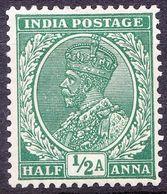 INDIA 1934 KGV 1/2 Anna Green SG232 MH - India (...-1947)