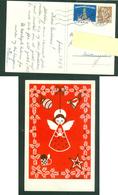Denmark. Christmas Card 1957. Angel,Christmas Decorations: Karen K. Postal Used,With Christmas Seal. - Christmas