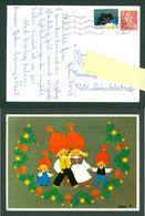 Denmark. Christmas Card 1973. Santa,National Costumes: Karen K. Postal Used,With Christmas Seal. - Christmas