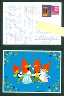 Denmark. Christmas Card 1974. Santa,National Costumes,Dancing: Karen K. Postal Used,With Christmas Seal. - Christmas