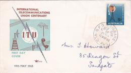 Australia 1965 Centenary Of ITU,Royal, FDC Type 1 - FDC