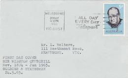 Australia 1965 Sir Winston Churchill,FDC Postmark All Day Every Day Telesport - FDC