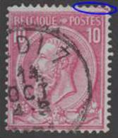 COB N° 46 - Oblitéré - MIDI 7 + Défaut D'impression - 1884-1891 Léopold II