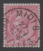 """COB N° 46 - Oblitération """"CONCOURS - BRUXELLES MIDI 8 - 1884-1891 Léopold II"""