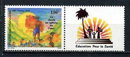 POLYNESIE 1992 N° 408 ** Avec Vignette Neuf MNH Superbe C 3.60 € + Dessin Allusif Coeur Peintures Painting Drawing - Polynésie Française