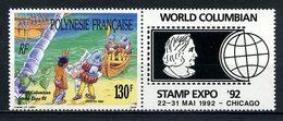POLYNESIE 1992 N° 409 ** Avec Vignette Neuf MNH Superbe C 3.60 € + Découvreurs Amérique Bateaux Boats Ships Transports - Polynésie Française