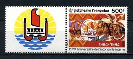 POLYNESIE 1994 N° 458 ** Avec Vignette Neuf MNH Superbe C 14 € + Autonomie Interne Logo Polynésiens Drapeaux Flags - Polynésie Française