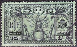 NEW HEBRIDES 1925 1/- (1.25f) Black/Emerald SG49 FU - English Legend