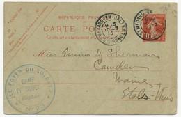 """Cachet Adm """"Le Foyer Du Soldat N°23 - CAMP DE SOUGES (Gironde) Sur Entier 10c Semeuse (CP) St Médard En Jalles 1916 - Guerre De 1914-18"""