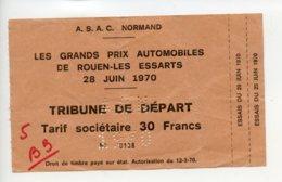Piece Sur Le Theme De A.S.A.C. Normand - Les Grands Prix Automobiles 28 Juin 1970 - Tribune De Depart - Tickets D'entrée
