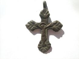 Ancient Bronze Cross 15-17 Century - Archeologia